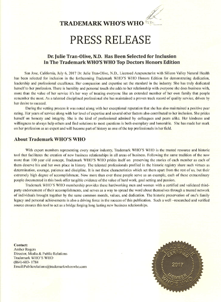 Trademark Who's Who Press Release